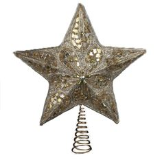 """14"""" Seasons of Elegance Silver and Gold Star Tree Topper - Unlit. Star-Shaped art-deco embellished."""