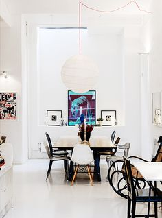 Hang light over table and centre with looping cord. stockholm style. / sfgirlbybay
