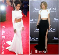 Two Piece Ball gowns. Rihanna and Taylor Swift. Backless, thigh split
