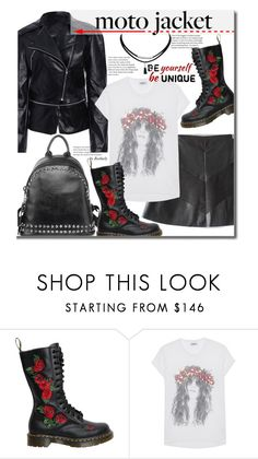 """""""After Dark: Moto Jackets"""" by beebeely-look ❤ liked on Polyvore featuring Dr. Martens, LAUREN MOSHI, StreetStyle, sammydress, backpacks, motojackets and PUleatherjacket"""