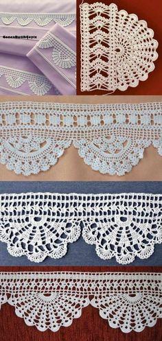 Ideias de bico de crochê para copiar Crochet Boarders, Crochet Edging Patterns, Filet Crochet Charts, Crochet Lace Edging, Christmas Crochet Patterns, Knit Or Crochet, Crochet Designs, Crochet Doilies, Crochet Flowers