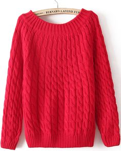 Red Long Sleeve Loose Cable Knit Sweater - Sheinside.com