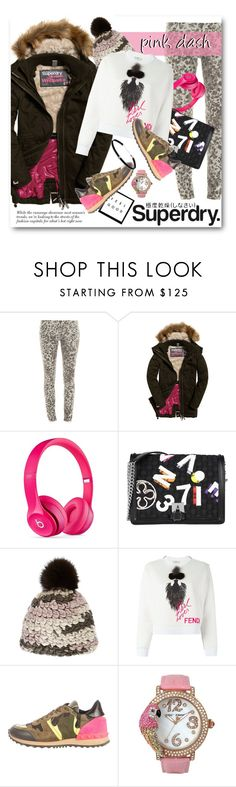 """""""The Cover Up – Jackets by Superdry: Contest Entry"""" by bonadea007 ❤ liked on Polyvore featuring Current/Elliott, Superdry, Beats by Dr. Dre, V°73, Mischa Lampert, Fendi, Valentino, Betsey Johnson and Carbon & Hyde"""