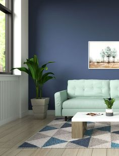Subtle green and blue living room ideas. Explore more ideas like this only on roomdsign.com Yellow Couch, Beige Couch, Pink Couch, Green Sofa, Blue Accent Walls, Dark Blue Walls, Cool Couches, White Couches, Light Brown Couch