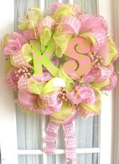 Super cute wreath! This would be a great wreath for a baby shower...I love the initials because i have a g-daughter with the same initials....love my Kylee Shae ♥