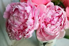 Peiones | pink peonies and roses arranged in a beautiful handcrafted piece by ...