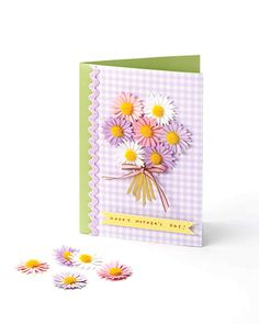 Mother's Day Daisy Card Project | Martha Stewart Living - Surprise Mom on her special day with this sweet bouquet card made with our dimensional daisy stickers (available at Michaels stores) in pretty purples, pinks, and white. Give the flowers a lovely background with our patterned craft stock, and add a sentimental message to tell Mom just how much you love her.