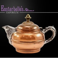 Beautiful Vintage Rochester Stamping Works Copper Tea Kettle