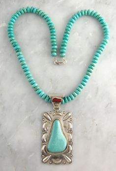Navajo Raymond Delgarito Sterling Silver Turquoise Coral Necklace