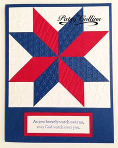"""Quilt by Patsy Collins. Emboss red, white, & blue cardstock using a different embossing folder for each piece. Punch 1"""" squares: 8 white, 4 red, 4 blue. Leave 4 white squares whole. Cut the other squares diagonally, corner to corner. Mark a """"+"""" at the center of a piece of 4"""" x 4"""" printer paper. Cover the paper evenly with glue. Adhere a center triangle first, lining it up with the """"+"""". Work clockwise or counterclockwise. Then add the outside pieces in the same way."""