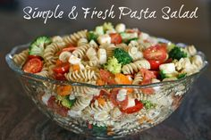 Simple & Fresh Pasta Salad : My version : Sub Gluten Free Noodles, Pepper Jack Cheese, and add sunflower seeds.