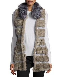 Netted Mink & Fox Fur Vest, Dark Gray