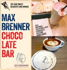 """See 223 photos and 8 tips from 1004 visitors to Max Brenner Chocolate Bar. """"The Louis Vuitton of Chocolateries~"""" Max Brenner, Bar, Chocolate, Sweet, Desserts, Candy, Tailgate Desserts, Deserts, Chocolates"""