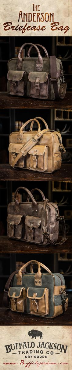 Men's vintage leather briefcase bag by Buffalo Jackson Trading Co. Designed to withstand the elements of adventure, but with an eye-catching quality any rugged gentleman would be proud to carry. casual briefcase | laptop bag | men's style