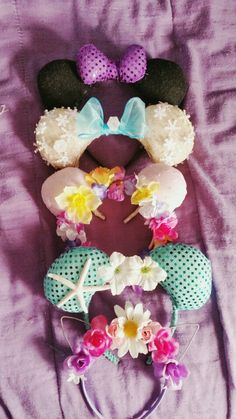 Handmade Disney inspired Minnie Mouse ears! From top to bottom: Minnie, Elsa, Rapunzel, Ariel, & the Cheshire Cat!