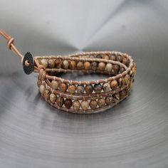 Mens Leather Wrap Jasper Bracelet Mojave £24.95