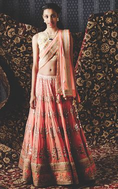 Peach and pale yellow gota patti lehenga - The Akaanksha lehenga, kuheli earring and nalini necklace by Anita Dongre | Summer Bride 2015 new collection | thedelhibride Indian weddings blog