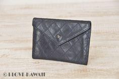 CHANEL Navy Leather Bicolore Bi-fold Purse