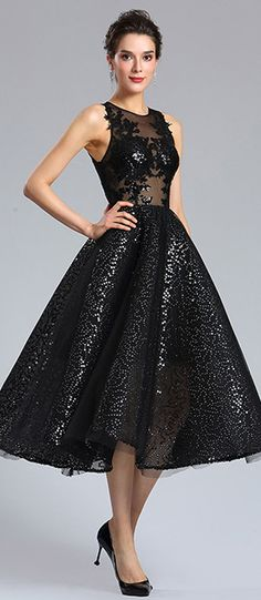 Sexy Black Sequins Cocktail Party Dress #eDressit