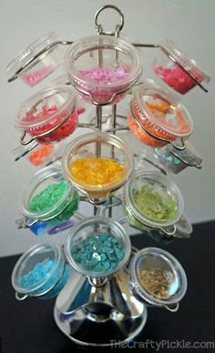 Embellishment storage...(Keurig carousel)..I can use with smaller containers