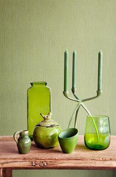 #Green Wallpaper / #Groen #Behang collectie Impulse - BN Wallcoverings via Dekens