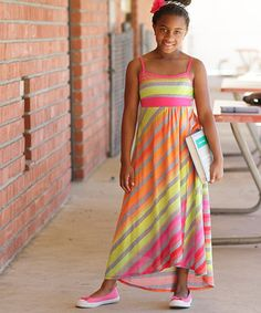 Love this Me & Ko Fuchsia & Orange Diagonal Stripe Maxi Dress - Girls by Me & Ko on #zulily! #zulilyfinds