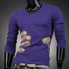 New PJ Fashion Designer Mens Slim Fit Long Sleeve T-Shirts Top Tee V Neck Casual
