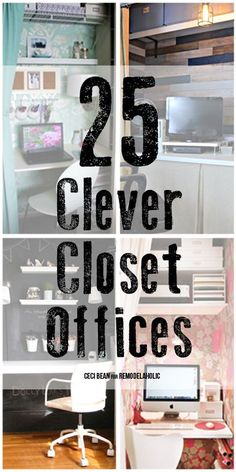 "Tuck away a workspace or put a guest room closet to work with a closet office. We've got 25 great ""cloffice"" ideas to help you put your closet to work!"