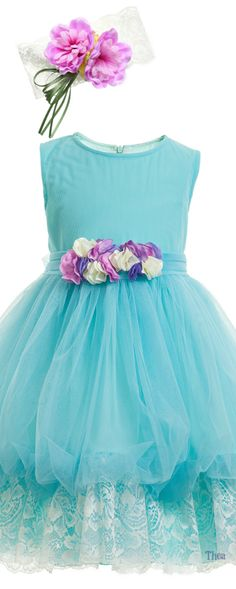 Aletta Baby ● SS 2015, Turquoise Blue Tulle & Lace Dress