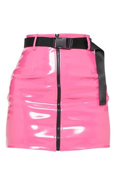 Neon Pink Vinyl Zip Front Belted Mini Skirt skirt skirt skirt skirt outfit skirt for teens midi skirt Neon Outfits, Kpop Fashion Outfits, Girls Fashion Clothes, Stage Outfits, 90s Fashion, Girl Fashion, Cute Outfits, Pink Clothes, Fashion Pants