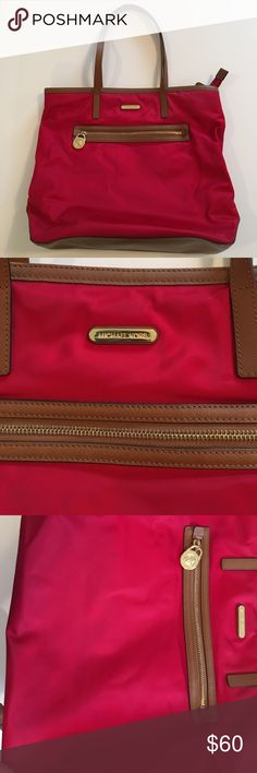 Michael Kors Kempton Tote Michael Kors genuine Kempton Tote...size Large.  Purchased at Nordstrom.  Great condition.  This is a true red.  No signs of wear on straps or bottom.  There are a couple slight stains on the nylon, but I couldn't even get them to show up well in pics they are so minor.  A couple tiny spots inside, but nothing noticeable.  No holes.  Great purse.  About 14 inches tall.  Bottom is 5 inches wide and 13 inches long.  Straps measure about 9 inches tall. Michael Kors…