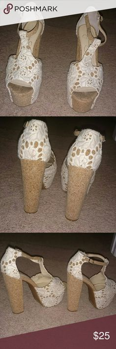 Jessica Simpson Wedge Heels White and cork looking wedge T strap heels by Jessica Simpson Jessica Simpson Shoes Heels