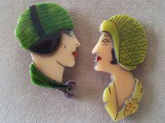 Vintage Bakelite Flapper Brooches or Pins, Art Deco Bakelite Pins