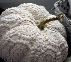 LOVE THESE FOR HALLOWEEN & THROUGHOUT....Pumpkin covered with crocheted vintage lace doily.