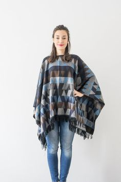 Blue Cotton Cape Cotton Poncho Outerwear Cotton Coat Women by Urbe