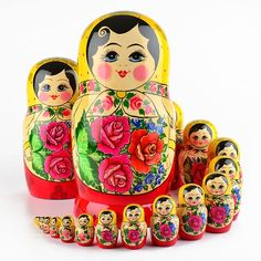 Red Roses Nesting Doll 20 pcs. | Traditional babushkas | The Russian Store  www.therussianstore.com
