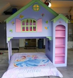 Girls Dollhouse Loft Bunk Bed Bedroom Set Book Shelves
