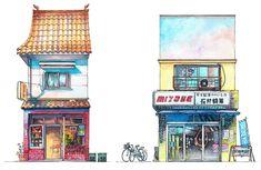 vetrine dei negozi di Tokyo raffigurati ad acquarello da  Mateusz Urbanowicz