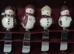 WINTER WISHES ST NICHOLAS SQUARE Set of Four Spreaders Christmas Snowman New
