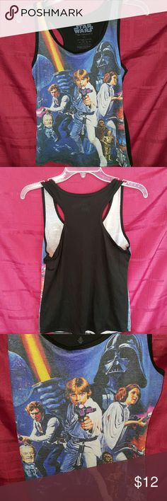 Star Wars Ladies Razorback Tank Gently worn Star Wars Tank,  in new like condition only worn once.   No holes or stains.  It comes from a smoke free home.   This is a great tank!   It comes from a smoke free home.   If you have any questions please ask. Star Wars Tops Tank Tops