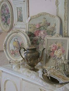 Paint antique frames creamy white