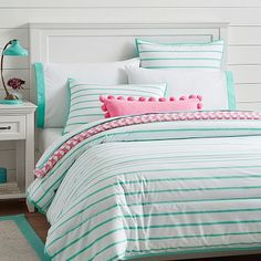 Market Stripe Comforter + Sham #pbteen This reverses to solid blue/green