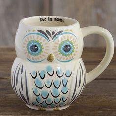 Whoooo doesn't love our owl mugs? We sure do, so we made some in adorable folk art designs! Generous ceramic mug in a fun owl shape, with a colorful face and turquoise and charcoal-colored f Cute Coffee Mugs, I Love Coffee, Tea Mugs, My Coffee, Coffee Cups, Morning Coffee, Coffee Art, Owl Mug, Cute Cups