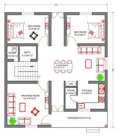 Little House Plans, 2bhk House Plan, Three Bedroom House Plan, Model House Plan, Duplex House Plans, House Layout Plans, Family House Plans, Bungalow House Design, Indian House Plans