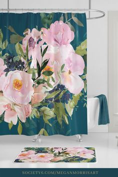 Home Decor Bathroom Colors, Pink and Teal Floral Shower Curtain Inspiration for a Teal Bathroom. Small Tile Shower, White Tile Shower, Shower Tile Designs, Teal Shower Curtains, Shower Curtain Art, Floral Curtains, Watercolor Shower Curtain, Teal Bathroom Decor, Bathroom Colors