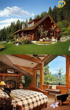 Evler<br> Small Log Cabin, Log Cabin Homes, Log Cabins, Small Cabins, Mountain Cabins, Mountain Living, Cabins In The Woods, House In The Woods, Future House