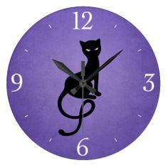 Purple Gracious Evil Black Cat Wallclock -$28.95 - Stylish #cat wall #clock with a beautiful illustration of a gracious evil black cat with glowing eyes on a grunge textured purple background. #homedecor