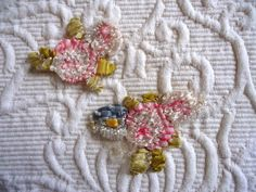 TWO LOVELY EDWARDIAN FRENCH SILK OMBRE FLAT RIBBONWORK ROSE CLUSTERS