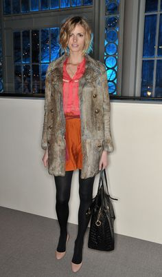 Jacquetta Wheeler layered her colorful shorts and blouse with tights and a fur jacket at the Matthew Williamson runway show. Fur Jacket, Fur Coat, Matthew Williamson, Color Combos, Front Row, What To Wear, Layers, Tights, London