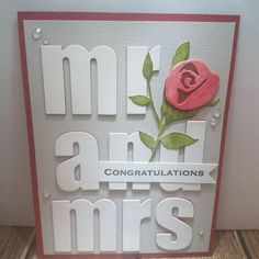 Mr and Mrs congratulations wedding engaged shower bride Homemade Wedding Cards, Wedding Cards Handmade, Handmade Birthday Cards, Homemade Cards, Wedding Shower Cards, Wedding Congratulations Card, Wedding Anniversary Cards, Happy Anniversary, Engagement Cards